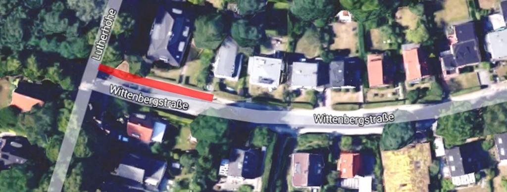 Ende der Wittenbergstraße nahe der Einmündung zur Lutherhöhe - Ausschnitt Google Maps